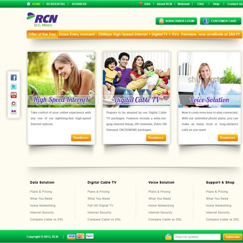 Create the next website design for RCN Cable TV | Web page