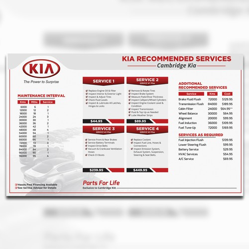 Redesigning A Car Dealership Service Menu Board Menu Contest