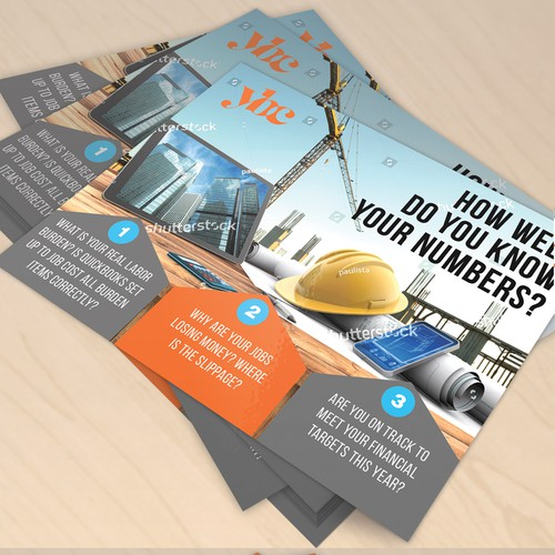 Fun postcard/flier marketing bookkeeping support to general contractors Design by Mr.TK