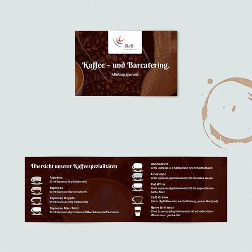 Werbeflyer udn Übersicht Kaffeespezisalitäten Diseño de fuchs@99