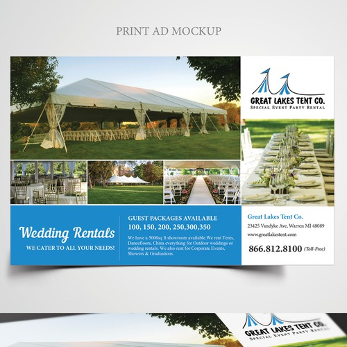1 2 page print add for wedding guide tent rental company