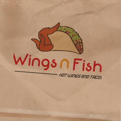 Wings n fish restaurant logo design logo design contest for Wings fish