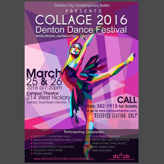 Create a striking poster design for COLLAGE Denton Dance