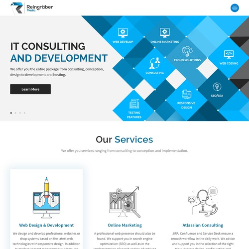 Onepage design for it consulting development startup for Design and development consultants
