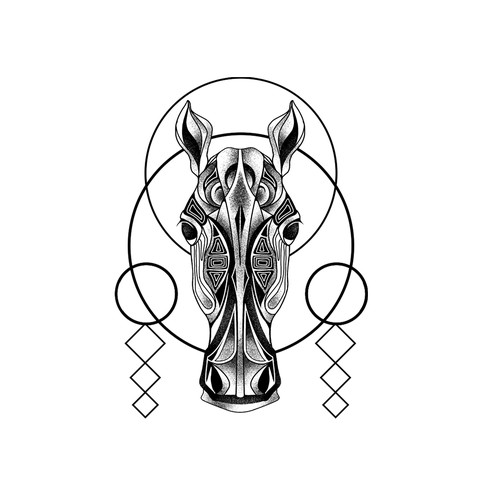 Looking for a tattoo design horse geometric pattern Design by mac23line