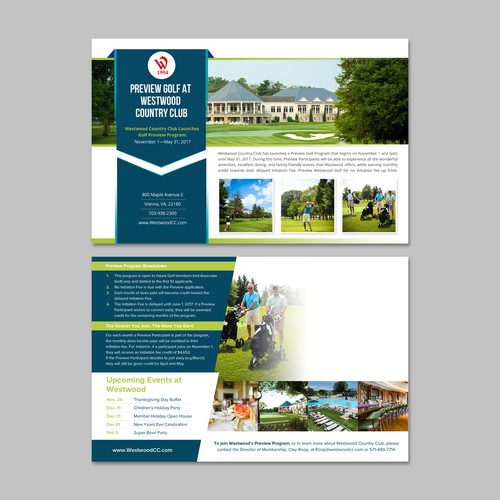 Country club postcard postcard flyer or print contest for Country brochure template