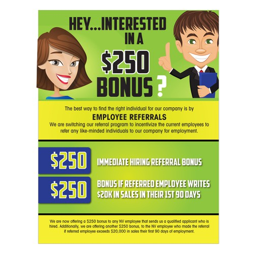 employee referral program flyer postcard flyer or print contest. Black Bedroom Furniture Sets. Home Design Ideas