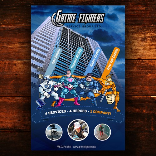 Create a Superhero advertisement for our skyscraper cleaning company Design by iguads ⭐️