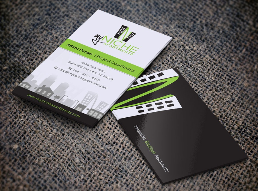 Create a innovative business card for My Niche Apartments | Business ...