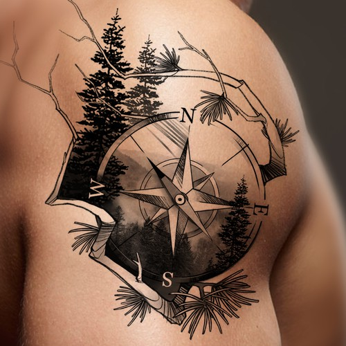 The Compass & Nature Shoulder Tattoo (Help Me Cover Up