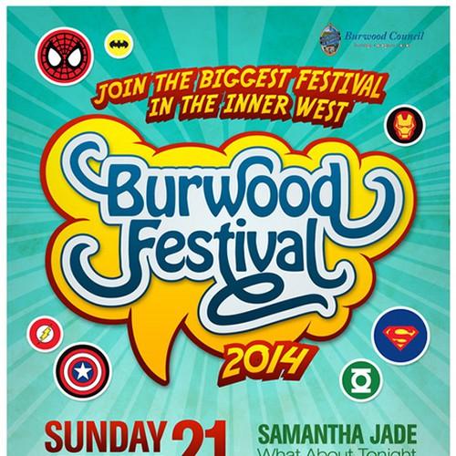 Burwood Festival SuperHero Promo Poster Design by Gohsantosa