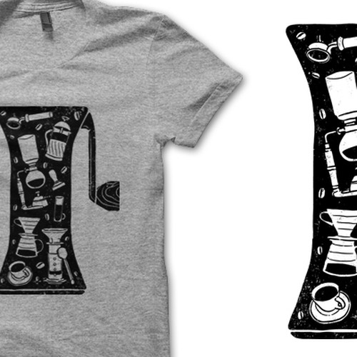 Coffee Collage T-Shirt Design Using Ink Made From Coffee Grounds Diseño de Flaceon