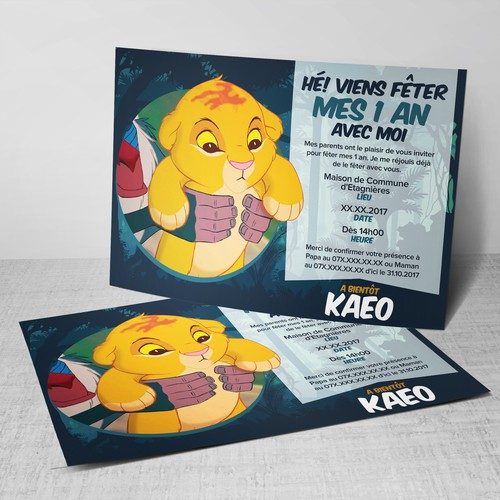 Anniversaire 1 An Roi Lion Birthday 1 Year King Lion Card Or