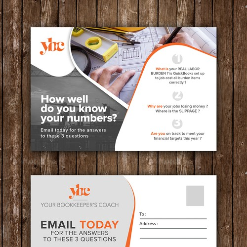 Fun postcard/flier marketing bookkeeping support to general contractors Design by idea@Dotcom