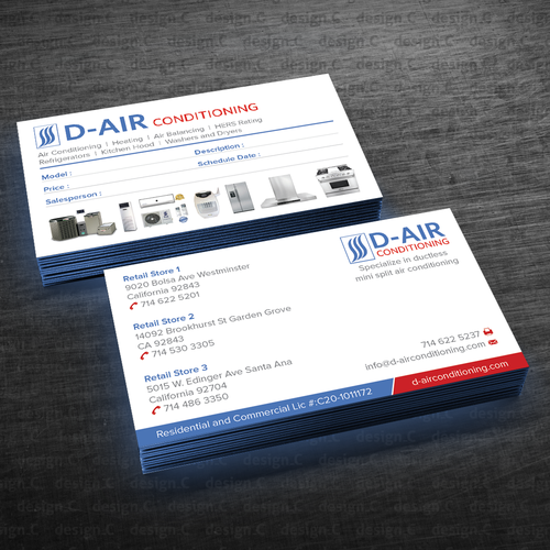 Design a business card for an air conditioning company business runner up design by designc colourmoves