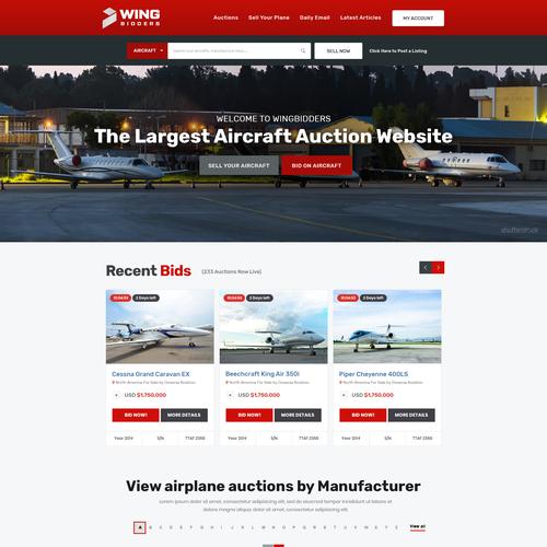 Airplane auction website | Web page design contest