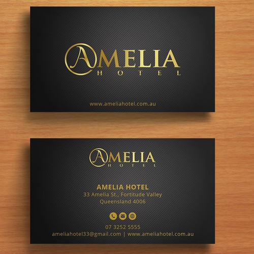 Amelia hotel business cards business card contest runner up design by fibr colourmoves