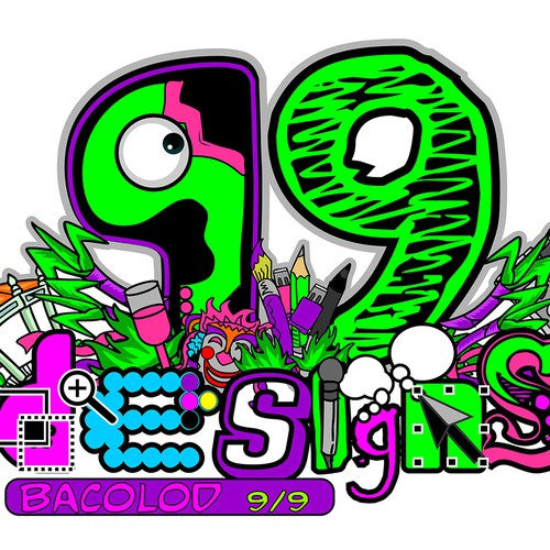 Create a cool illustration for 99designs designer meet ups event. Bacolod 9/9 Design by byrevo.com