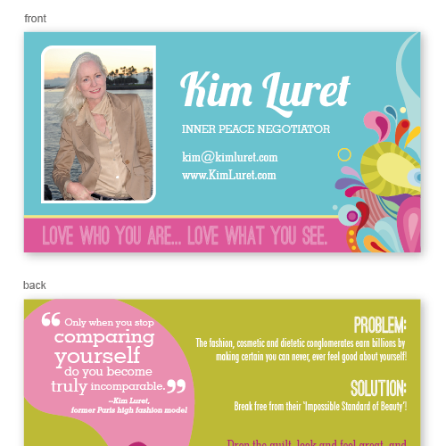 Business card design for woman motivational speaker stationery contest runner up design by linvil colourmoves