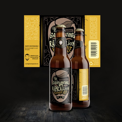 """The Gallivanting Rapscallion"" beer bottle label... Ontwerp door _fra_"