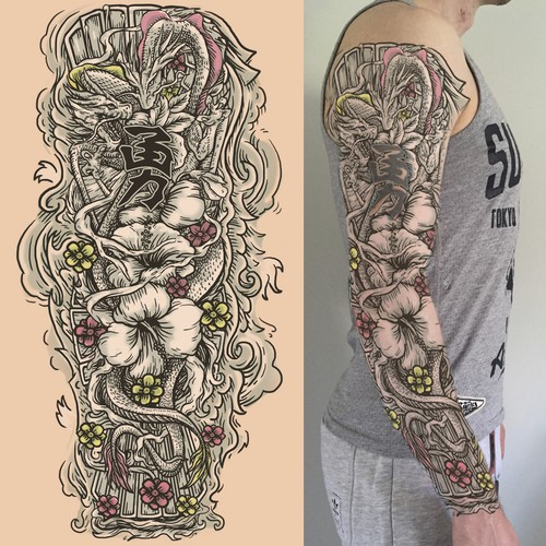 double dragon full arm sleeve tattoo tattoo contest. Black Bedroom Furniture Sets. Home Design Ideas