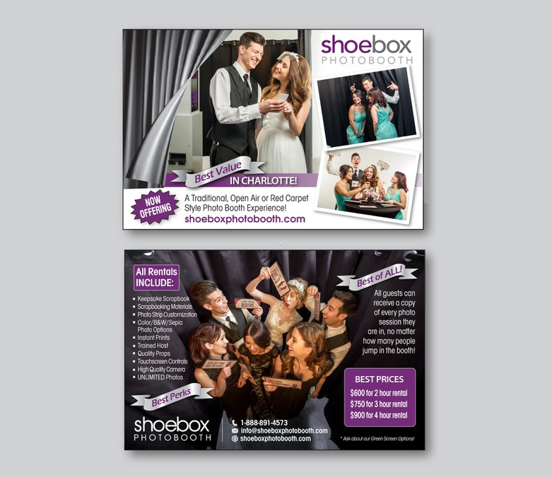 Create a flyer that is crisp & eye catching for Shoebox