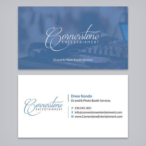 Wedding dj photo booth business needs business cards business runner up design by ayg design reheart Image collections