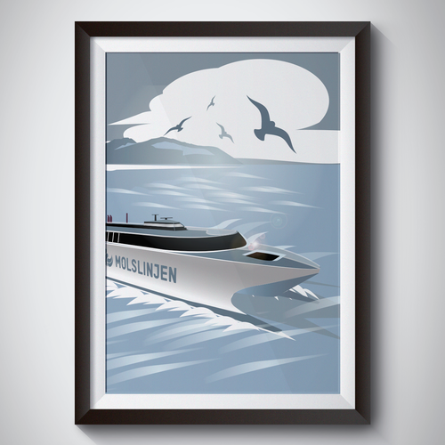 Multiple Winners - Classic and Classy Vintage Posters National Danish Ferry Company Design by Cipo Design