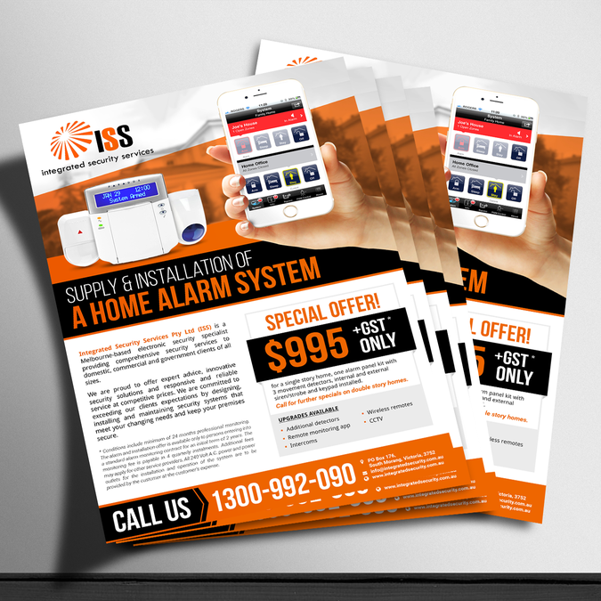 create a sales flyer for security alarm special postcard flyer