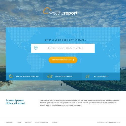 1 Page Weather Site | Landing page design contest