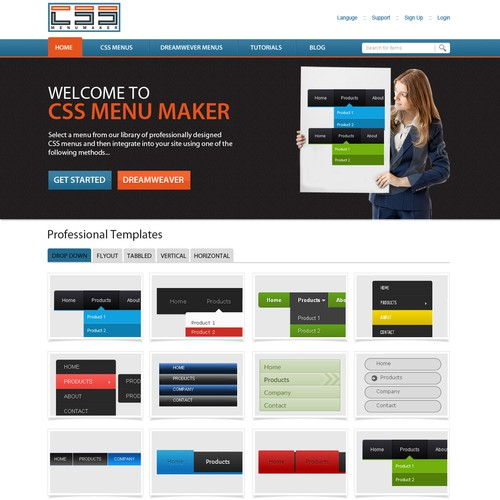 Website design for css menu maker web page design contest for Website layout maker