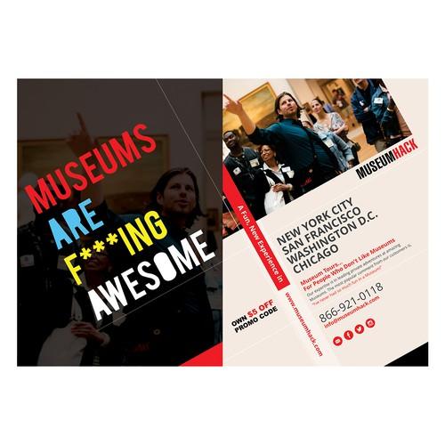 Design a postcard for a $2 million+ renegade museum tour company Design by FuturisticBug