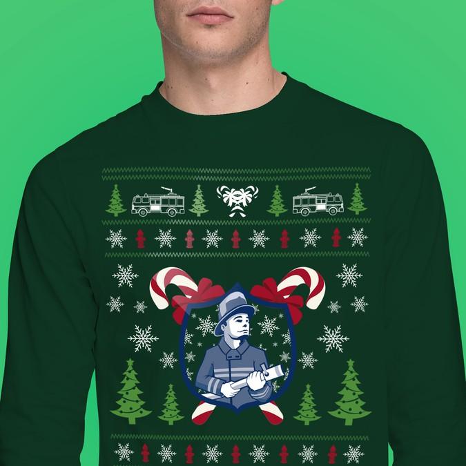 Firefighter Christmas Shirt.Long Sleeve Tee For Firefighter Wear On Christmas Event T