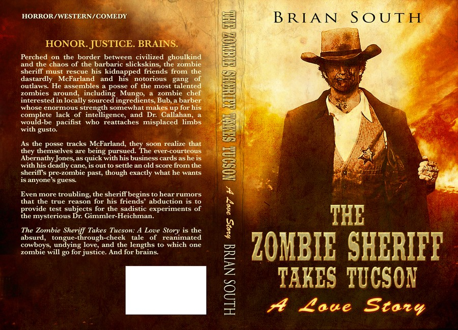 Love Story Book Cover Design ~ Book cover for the zombie sheriff takes tucson a love