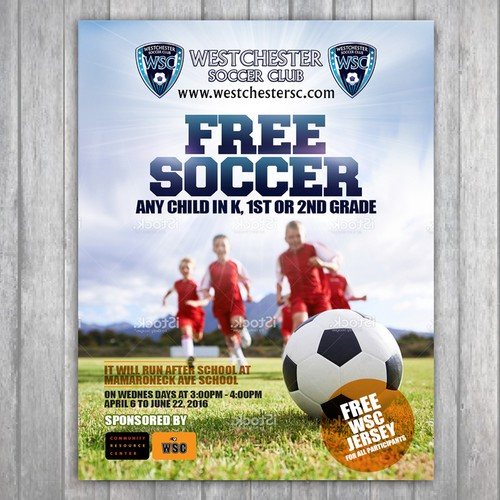 create a flyer for our new free after school spring soccer clinic