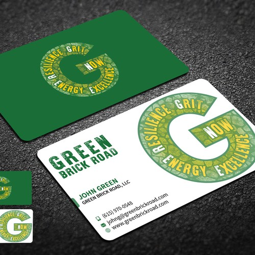 Create a captivating business card for green brick road business runner up design by da viper reheart