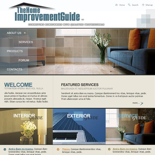 Website Design For Home Improvement Guide Web Page