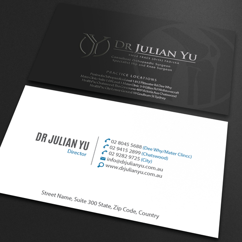 New business card for young high level premium hip and knee runner up design by an designer colourmoves