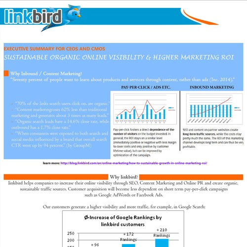 Create a captivating Sales Pitch for CMOs and CEOs (One Page
