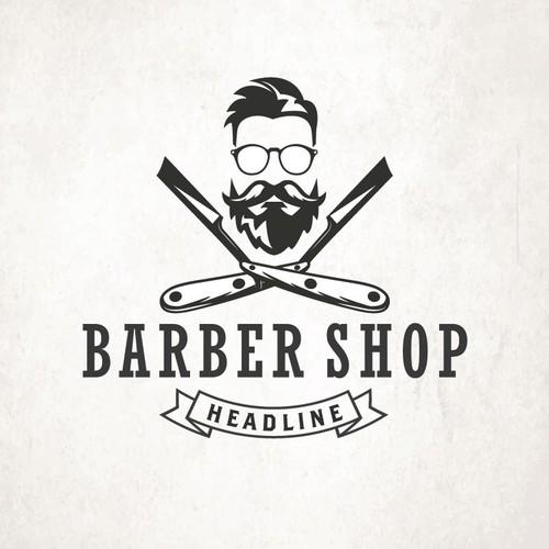 vintage or hipster barber logo logo design contest