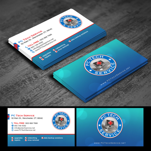 Design a new business card for PC Tech Service- and IT