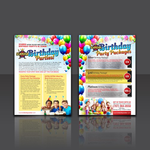 birthday party packages flyer needs to be fun はがき チラシ 各種