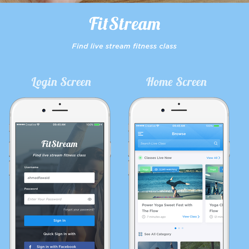 design a motivating fitness class streaming app concours cr ation application mobile. Black Bedroom Furniture Sets. Home Design Ideas