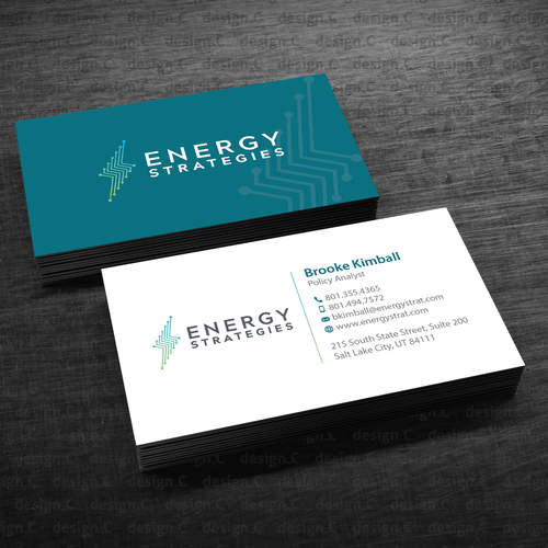 Create a professional business card for energy strategies concurso design finalista por designc reheart