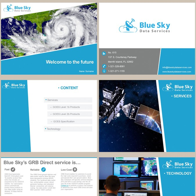 powerpoint template for satellite weather data company