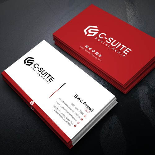 Design a modern business card for c suite social media business runner up design by r design reheart Gallery