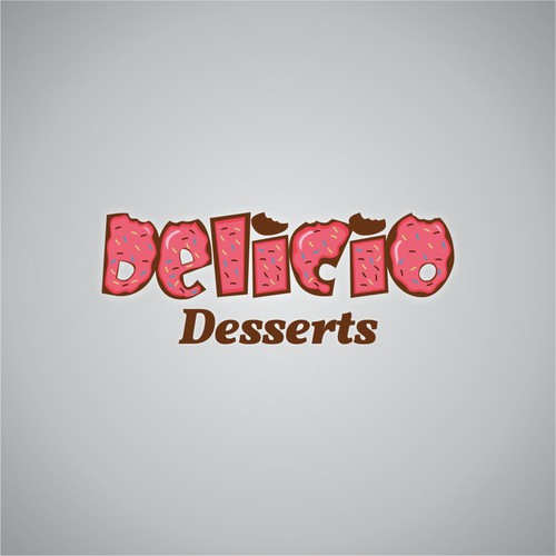creer un logo pour la marque de dessert delicio  bientot disponible dans les fast food et