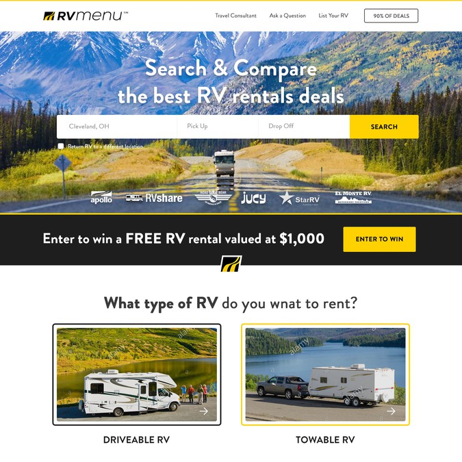 Create A Homepage Design For A Popular Rv Rentals Website