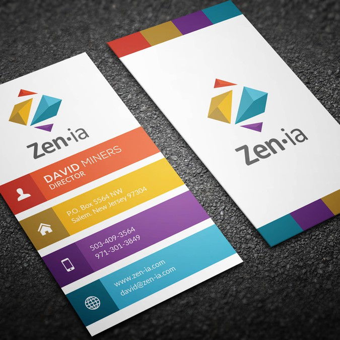 Zenia start up business card contest business card contest winning design by ohmega reheart Image collections