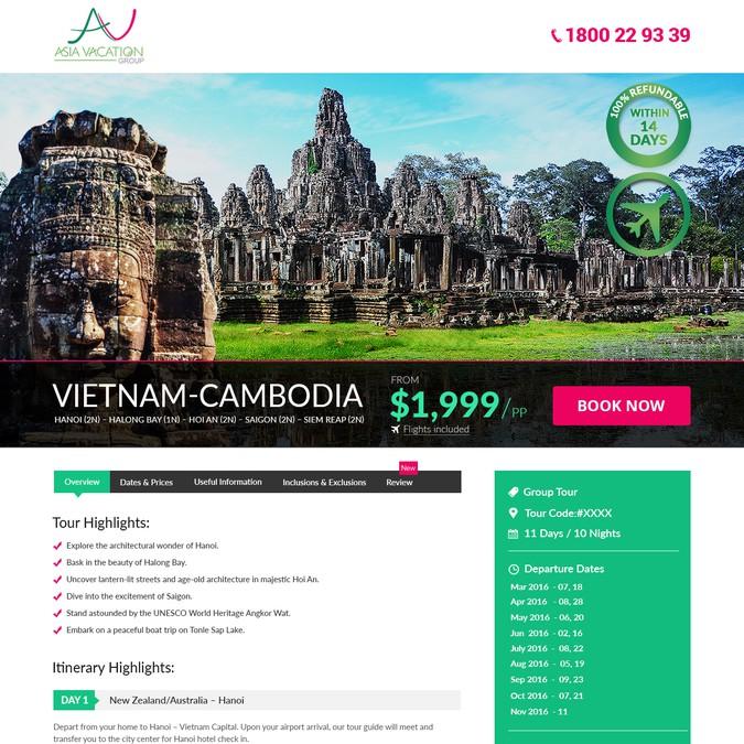 Vietnam tour promotion landing page that converts to sales | Landing page design contest